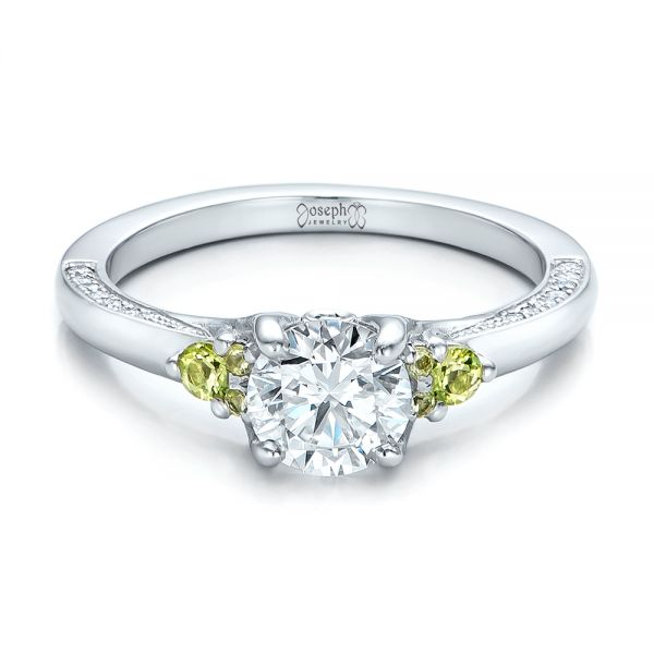 Platinum Custom Peridot And Diamond Engagement Ring - Flat View -