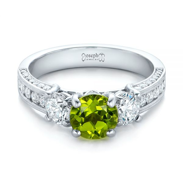 Custom Peridot and Diamond Engagement Ring - Flat View -  102118 - Thumbnail