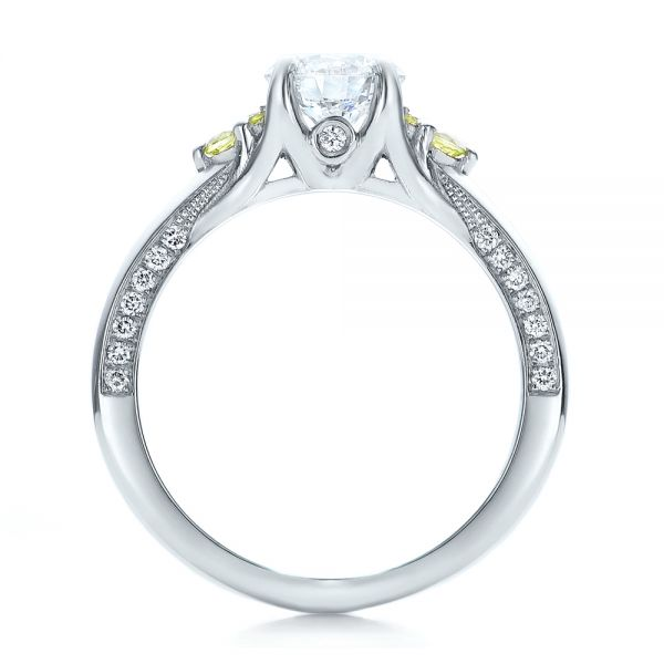 Platinum Custom Peridot And Diamond Engagement Ring - Front View -