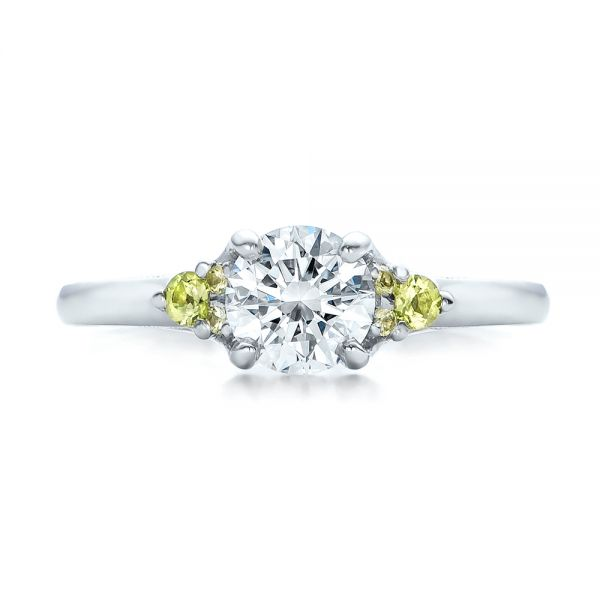 Platinum Custom Peridot And Diamond Engagement Ring - Top View -