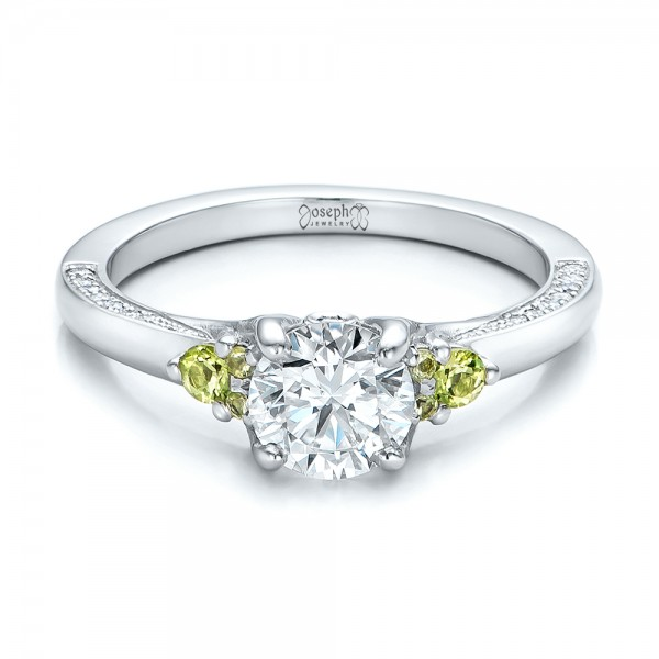 Custom Peridot and Diamond Engagement Ring - Laying View