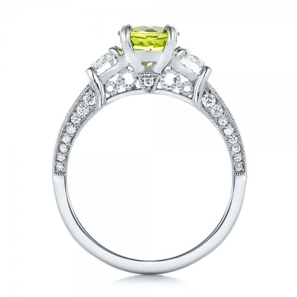 Custom Peridot and Diamond Engagement Ring - Finger Through View