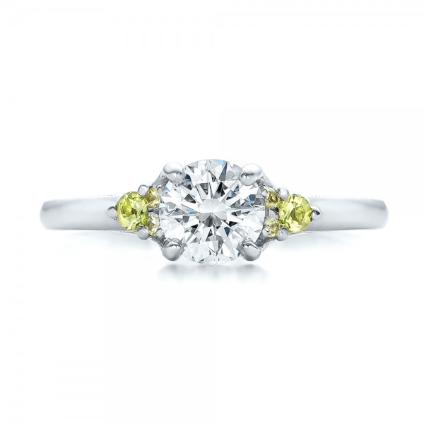 Custom Peridot and Diamond Engagement Ring - Top View