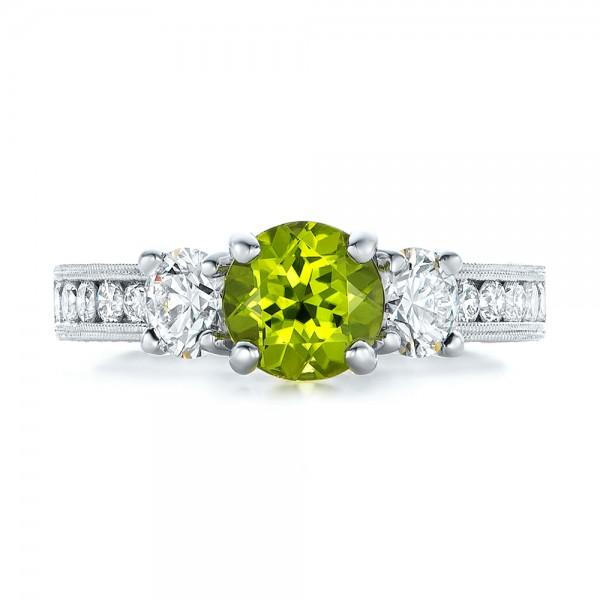 Custom Peridot and Diamond Engagement Ring - Top View