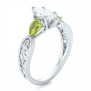 Custom Peridot and Marquise Diamond Engagement Ring