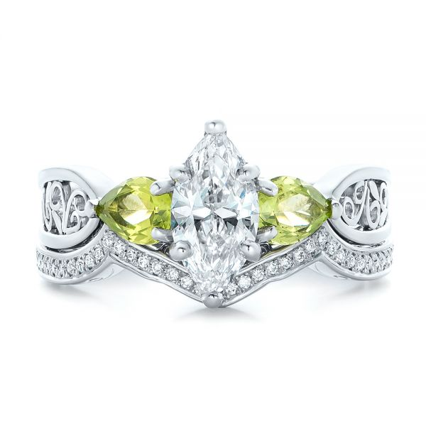 Platinum Custom Peridot And Marquise Diamond Engagement Ring - Three-Quarter View -  102290
