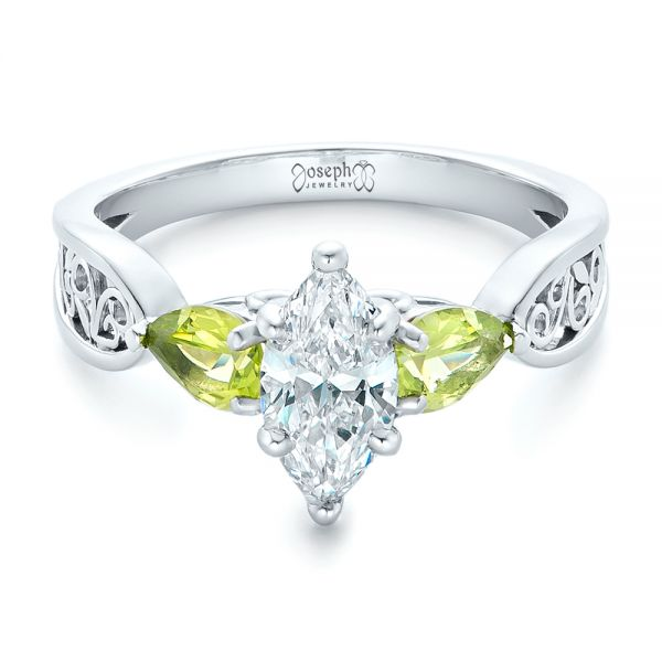 Platinum Custom Peridot And Marquise Diamond Engagement Ring - Flat View -  102290