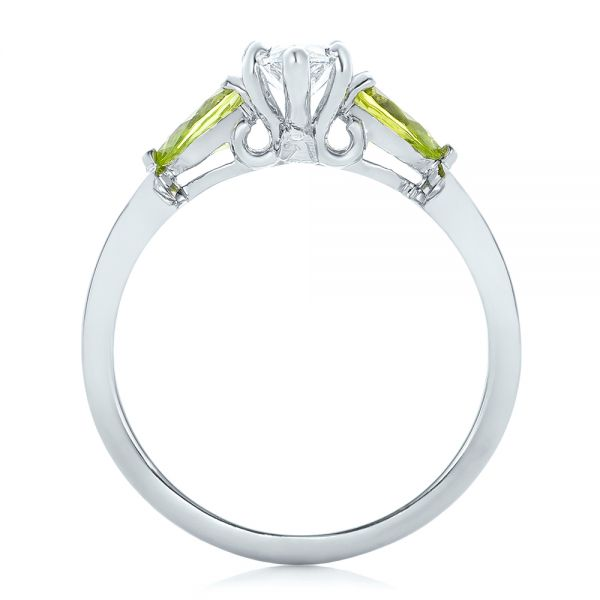 Platinum Custom Peridot And Marquise Diamond Engagement Ring - Front View -  102290