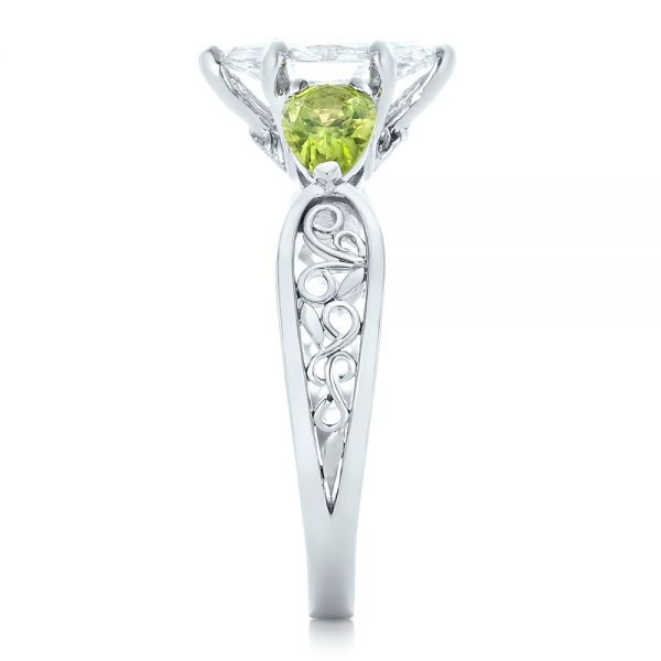 Platinum Custom Peridot And Marquise Diamond Engagement Ring - Side View -  102290