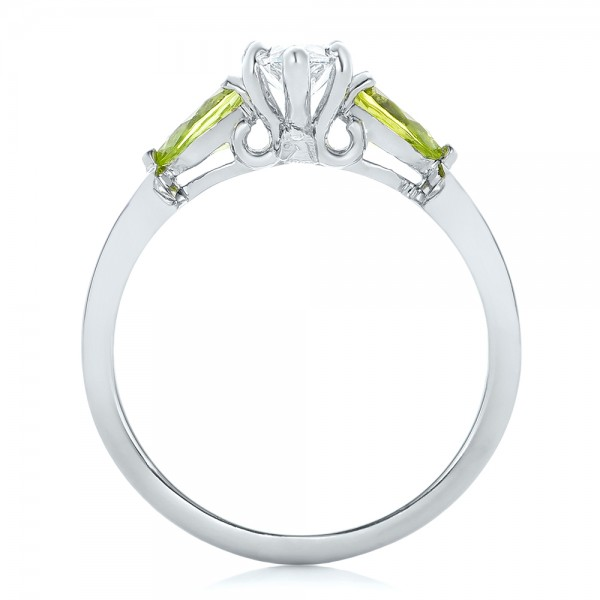 Custom Peridot and Marquise Diamond Engagement Ring - Finger Through View