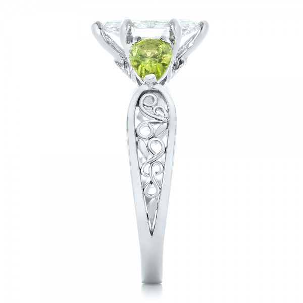 Custom Peridot and Marquise Diamond Engagement Ring - Side View