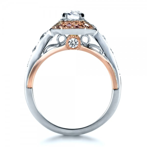 Custom Pink Diamond Engagement Ring - Finger Through View
