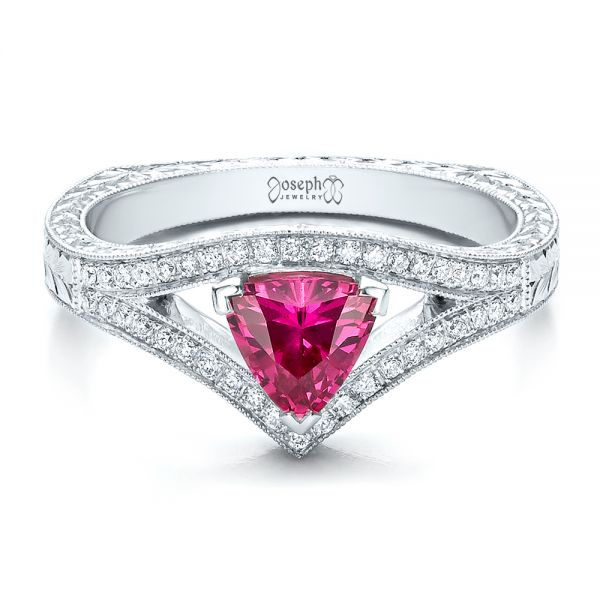 Custom Pink Sapphire Engagement Ring - Flat View -  100113 - Thumbnail