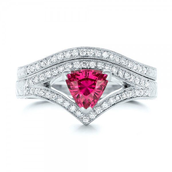 Custom Pink Sapphire Engagement Ring - Top View -  100113 - Thumbnail