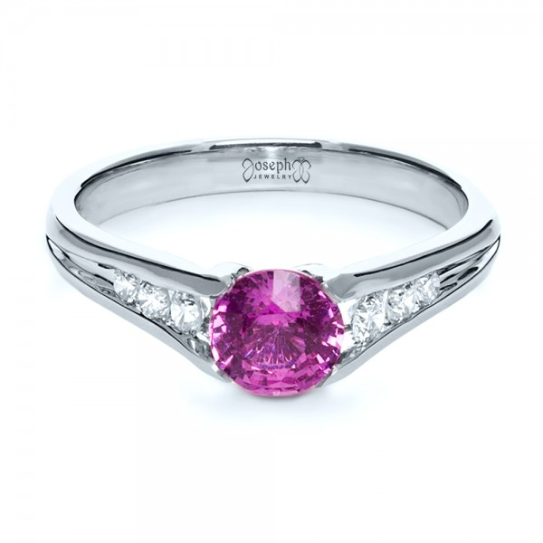 Custom Pink Sapphire Engagement Ring - Laying View