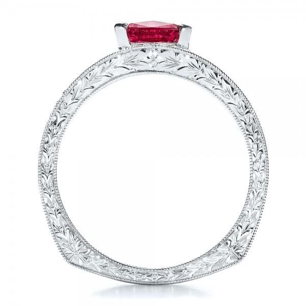 Custom Pink Sapphire Engagement Ring - Finger Through View