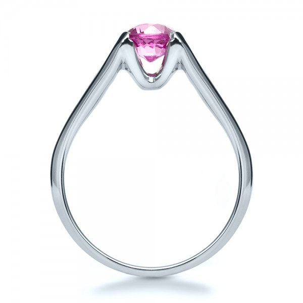 Custom Pink Sapphire Engagement Ring - Finger Through View