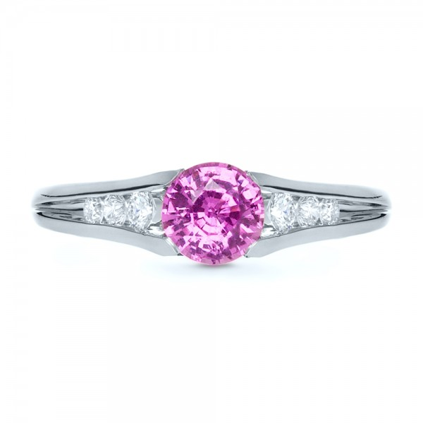 Custom Pink Sapphire Engagement Ring - Top View