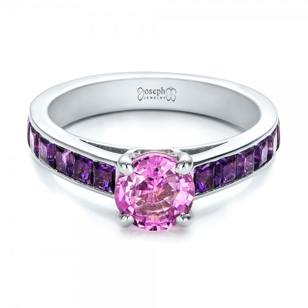 Custom Pink Sapphire and Amethyst Engagement Ring