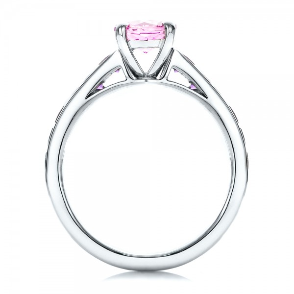 Custom Pink Sapphire and Amethyst Engagement Ring - Finger Through View