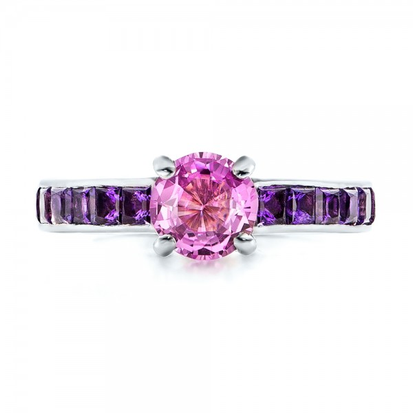 Custom Pink Sapphire And Amethyst Engagement Ring 101214