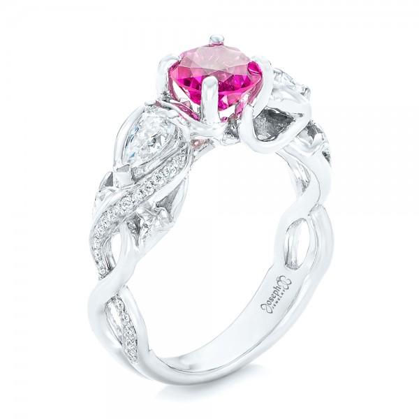 Custom Pink Sapphire and Diamond Engagement Ring