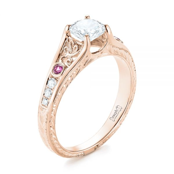 14k Rose Gold 14k Rose Gold Custom Pink Sapphire And Diamond Engagement Ring - Three-Quarter View -