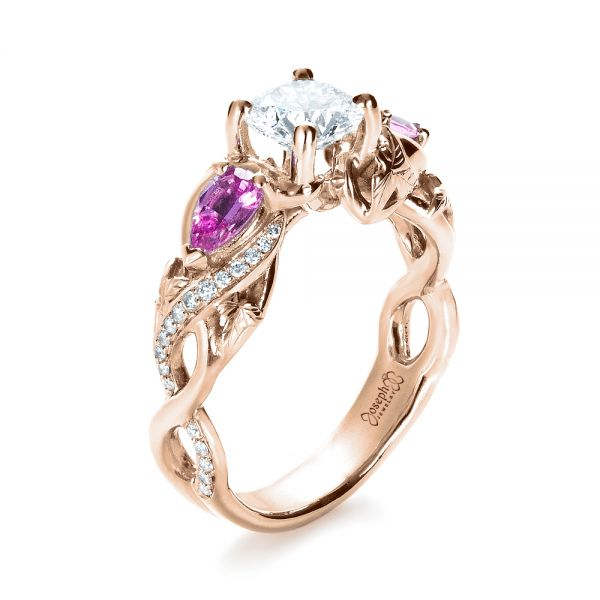 Custom Pink Sapphire and Diamond Engagement Ring - Image