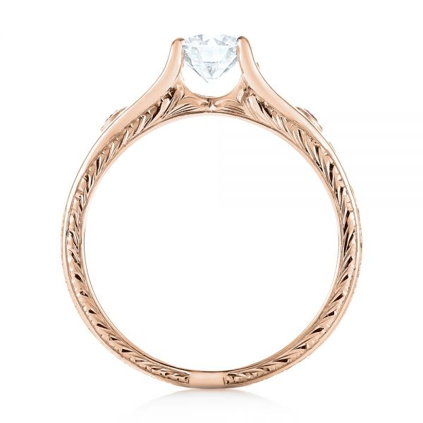 14k Rose Gold 14k Rose Gold Custom Pink Sapphire And Diamond Engagement Ring - Front View -
