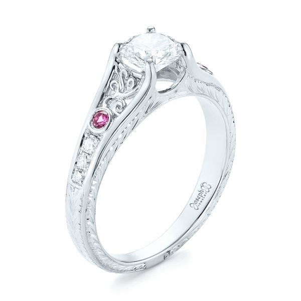 Custom Pink Sapphire and Diamond Engagement Ring - Three-Quarter View -  103213 - Thumbnail