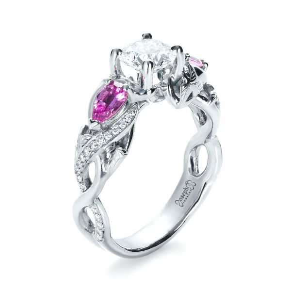 Custom Pink Sapphire and Diamond Engagement Ring - Three-Quarter View -  1431 - Thumbnail