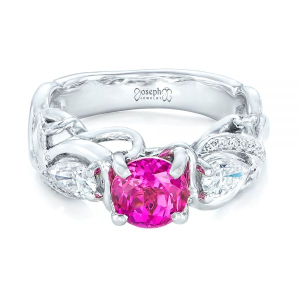 14k White Gold Custom Pink Sapphire And Diamond Engagement Ring - Flat View -