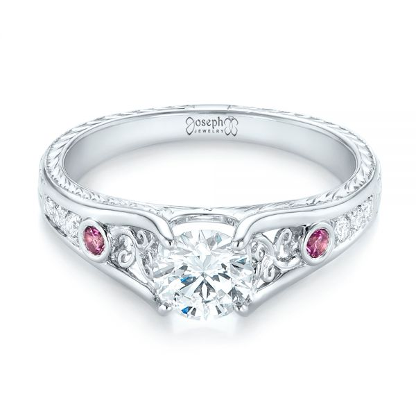 Custom Pink Sapphire and Diamond Engagement Ring - Flat View -  103213 - Thumbnail