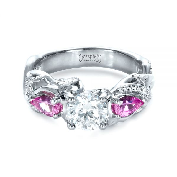 Custom Pink Sapphire and Diamond Engagement Ring - Flat View -  1431 - Thumbnail