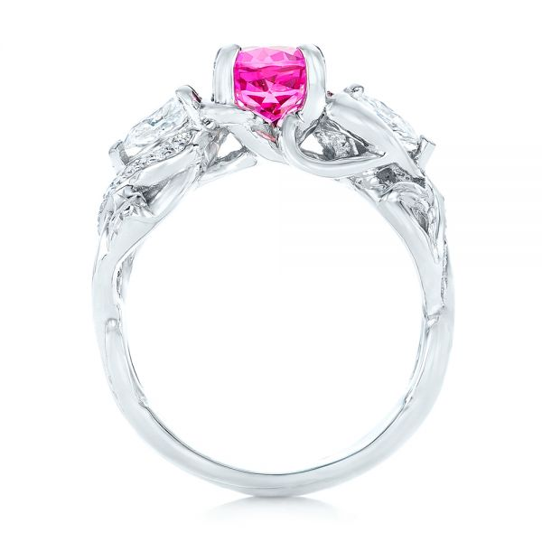 14k White Gold Custom Pink Sapphire And Diamond Engagement Ring - Front View -