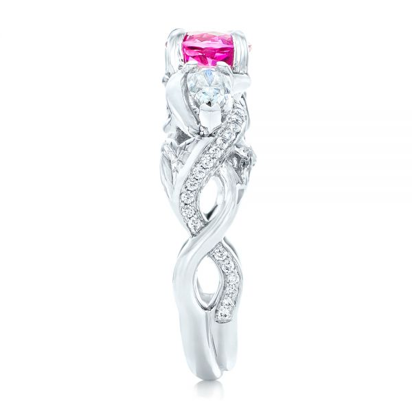 14k White Gold Custom Pink Sapphire And Diamond Engagement Ring - Side View -