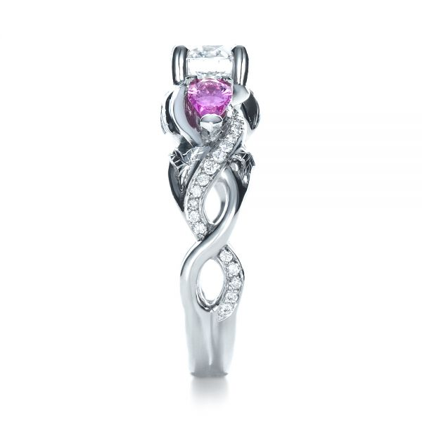 Custom Pink Sapphire and Diamond Engagement Ring - Side View -  1431 - Thumbnail