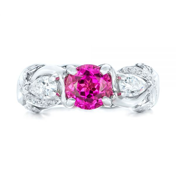 14k White Gold Custom Pink Sapphire And Diamond Engagement Ring - Top View -
