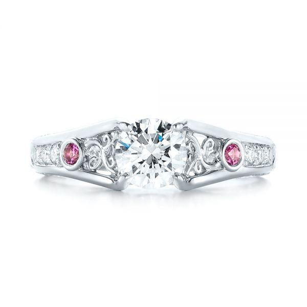 Custom Pink Sapphire and Diamond Engagement Ring - Top View -  103213 - Thumbnail