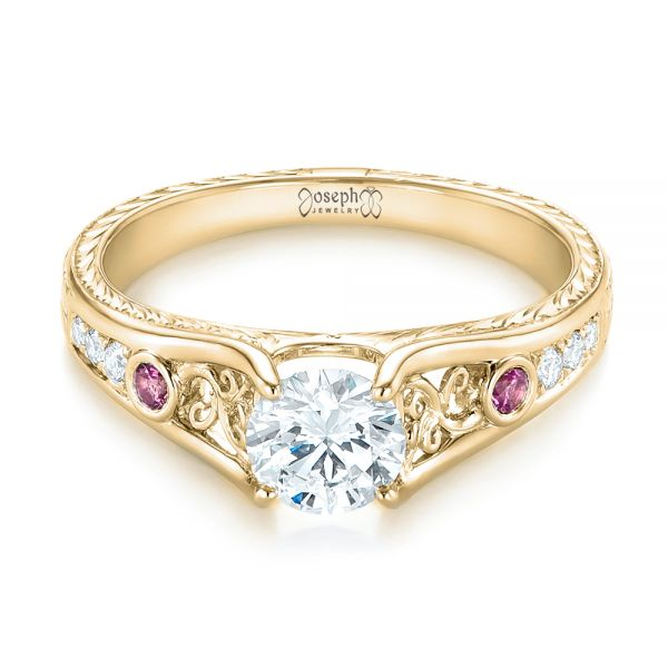 14k Yellow Gold 14k Yellow Gold Custom Pink Sapphire And Diamond Engagement Ring - Flat View -
