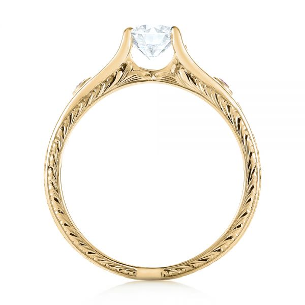 14k Yellow Gold 14k Yellow Gold Custom Pink Sapphire And Diamond Engagement Ring - Front View -
