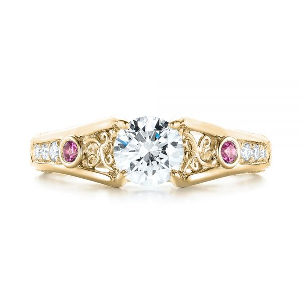 14k Yellow Gold 14k Yellow Gold Custom Pink Sapphire And Diamond Engagement Ring - Top View -