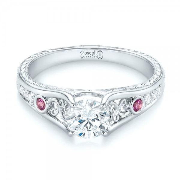 Custom Pink Sapphire and Diamond Engagement Ring - Laying View