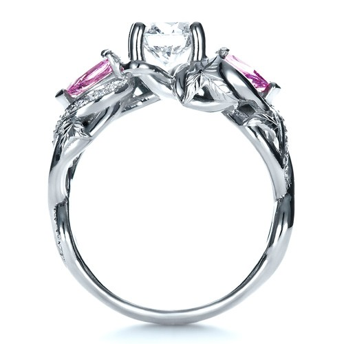 Custom Pink Sapphire and Diamond Engagement Ring - Finger Through View