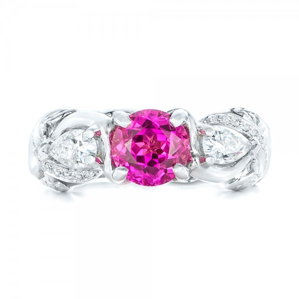 custom pink sapphire and engagement ring 102547