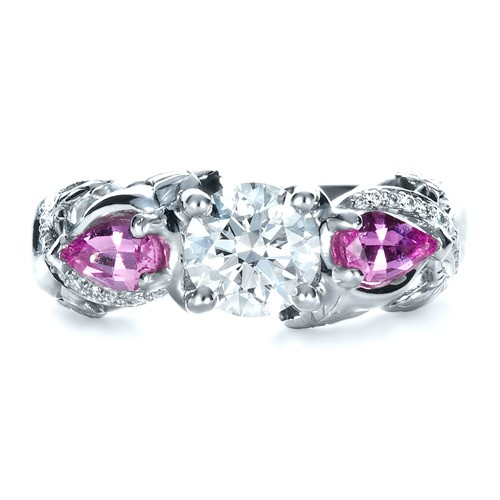 Custom Pink Sapphire and Diamond Engagement Ring - Top View