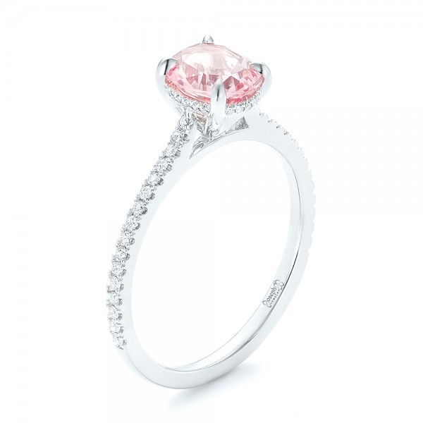 Custom Pink Sapphire and Diamond Engagment Ring - 3/4 View