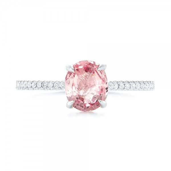 Custom Pink Sapphire and Diamond Engagment Ring - Top View