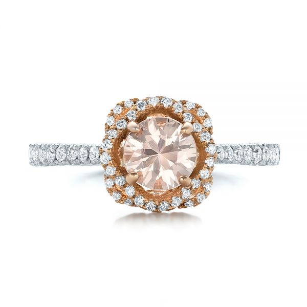 Custom Pink Sapphire and Diamond Halo Engagement Ring - Top View -  102136 - Thumbnail