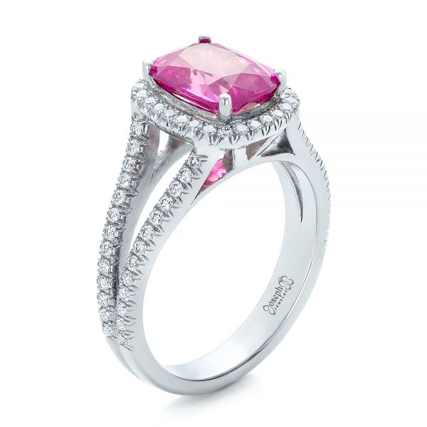 Custom Pink Sapphire and Diamond Halo Engagement Ring - Three-Quarter View -  1103 - Thumbnail